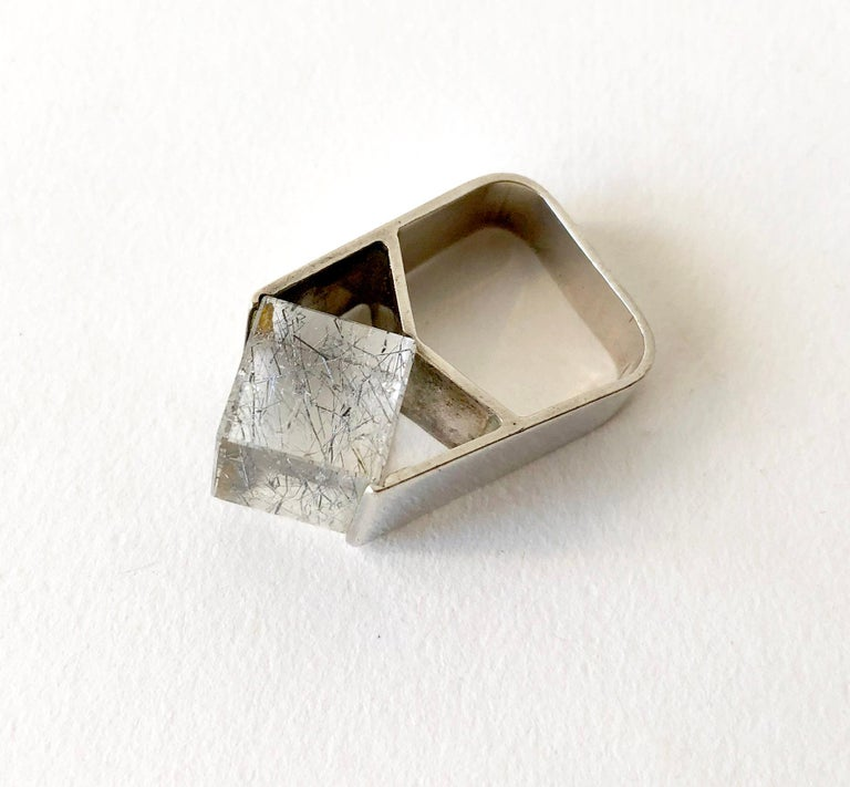 Jens Christian Thejls Sterling Silver Rutilated Quartz Danish Modernist Ring For Sale 2