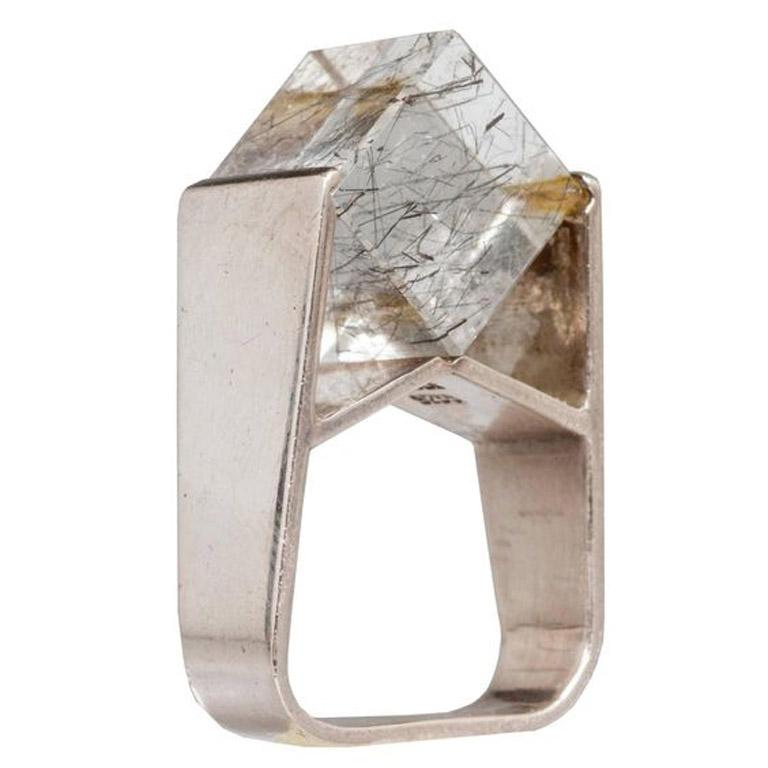 Jens Christian Thejls Sterling Silver Rutilated Quartz Danish Modernist Ring For Sale