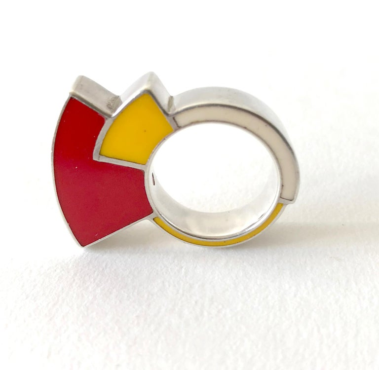 Women's Postmodernist Sterling Silver Enamel Memphis Ring For Sale