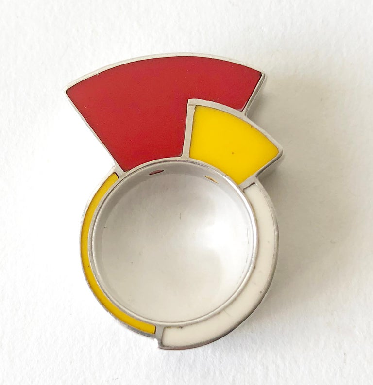 Modernist Postmodernist Sterling Silver Enamel Memphis Ring For Sale