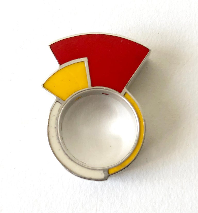 Postmodernist Sterling Silver Enamel Memphis Ring In Good Condition For Sale In Los Angeles, CA