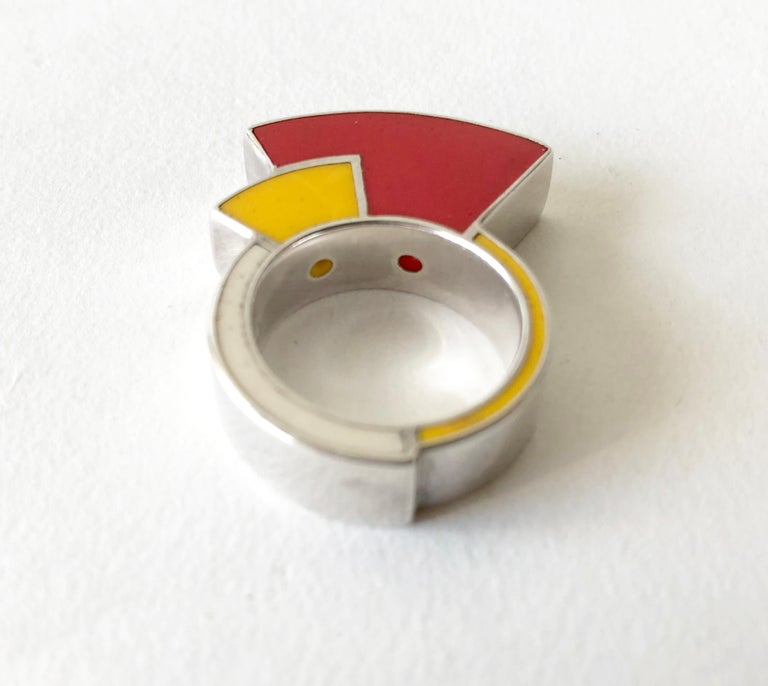 Postmodernist Sterling Silver Enamel Memphis Ring For Sale 1