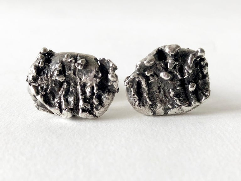 1960s Sterling Silver Abstract Brutalist Cufflinks In Good Condition For Sale In Los Angeles, CA