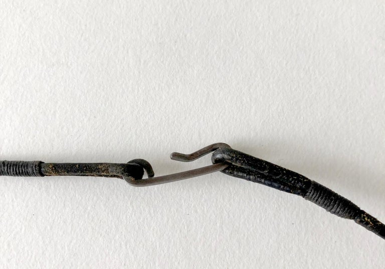 Early Betty Cooke Sterling Silver Pendant on Original Leather Cord In Good Condition For Sale In Los Angeles, CA