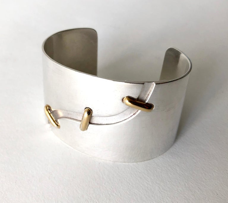 Women's Jose Maria Puig Doria Sterling Silver Gold Spanish Modernist Cuff Bracelet For Sale
