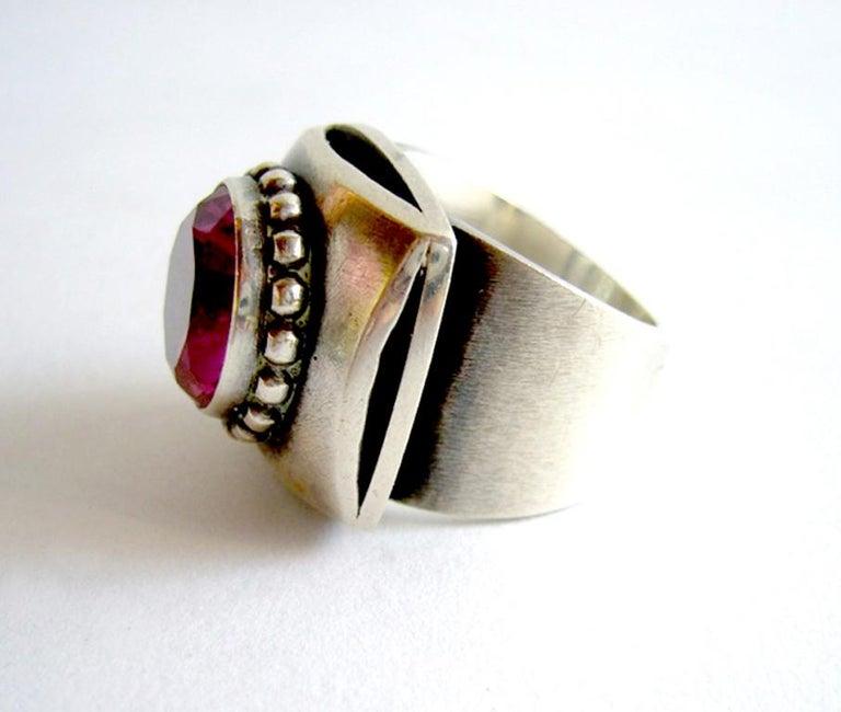 Asscher Cut James Parker Sterling Silver Rubilite San Diego Modernist Ring For Sale