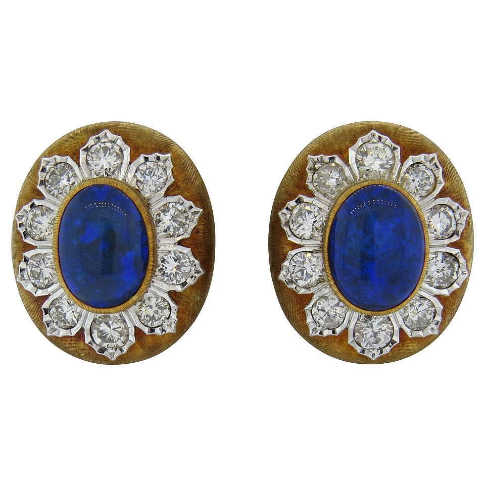 Buccellati Black Opal Diamond Gold Earrings