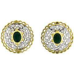 Mario Buccellati Emerald Diamond Gold Earrings