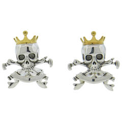 Deakin & Francis Sterling Silver Skull Crown Cufflinks