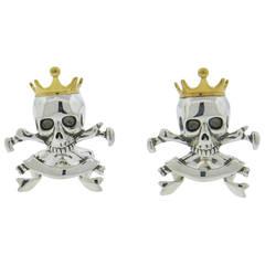 Deakin & Francis Sterling Silver Skull Crown Cufflinks