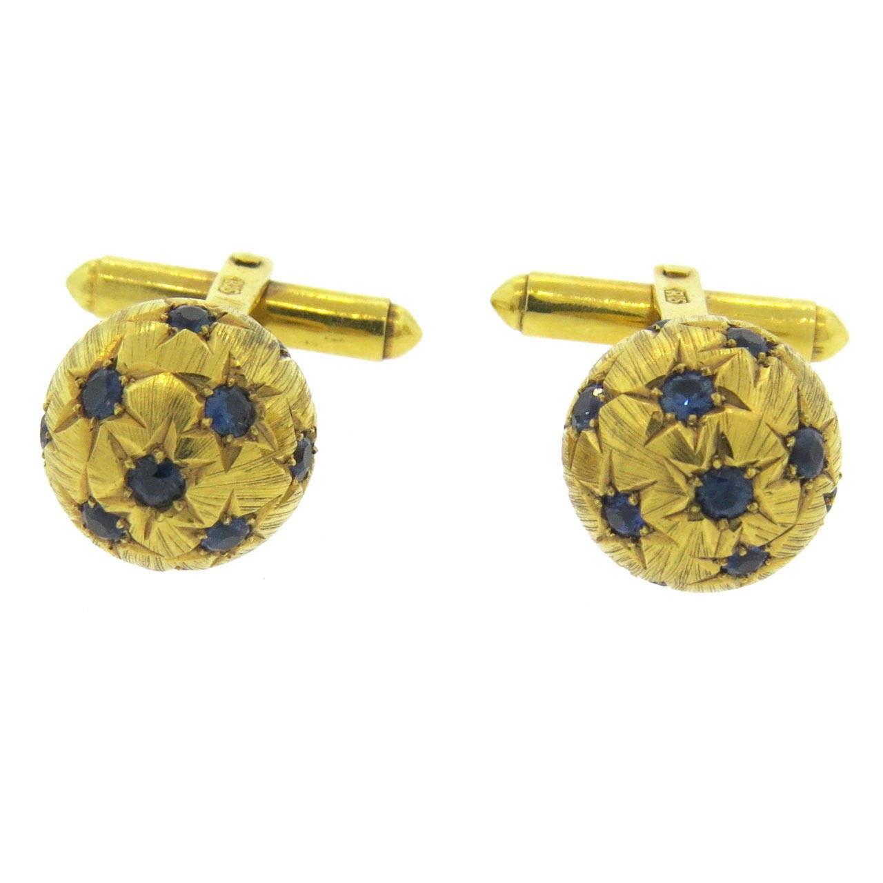 Retro Sapphire Gold Cufflinks