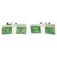 Deakin & Francis Enamel Sterling Silver Dollar Money Cufflinks