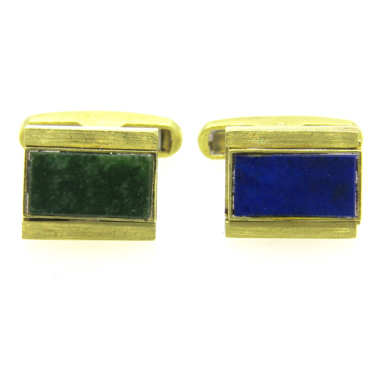 Nephrite Lapis Gold Reversible Cufflinks