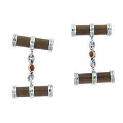 Trianon Wood Coral Gold Cufflinks