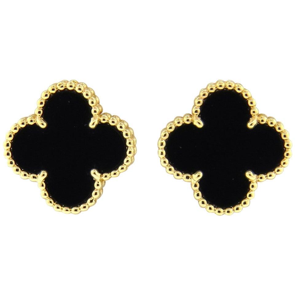 Van Cleef & Arpels VCA Vintage Alhambra Onyx Earrings 1