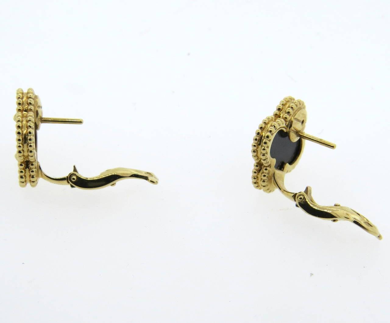 Van Cleef & Arpels VCA Vintage Alhambra Onyx Earrings 2