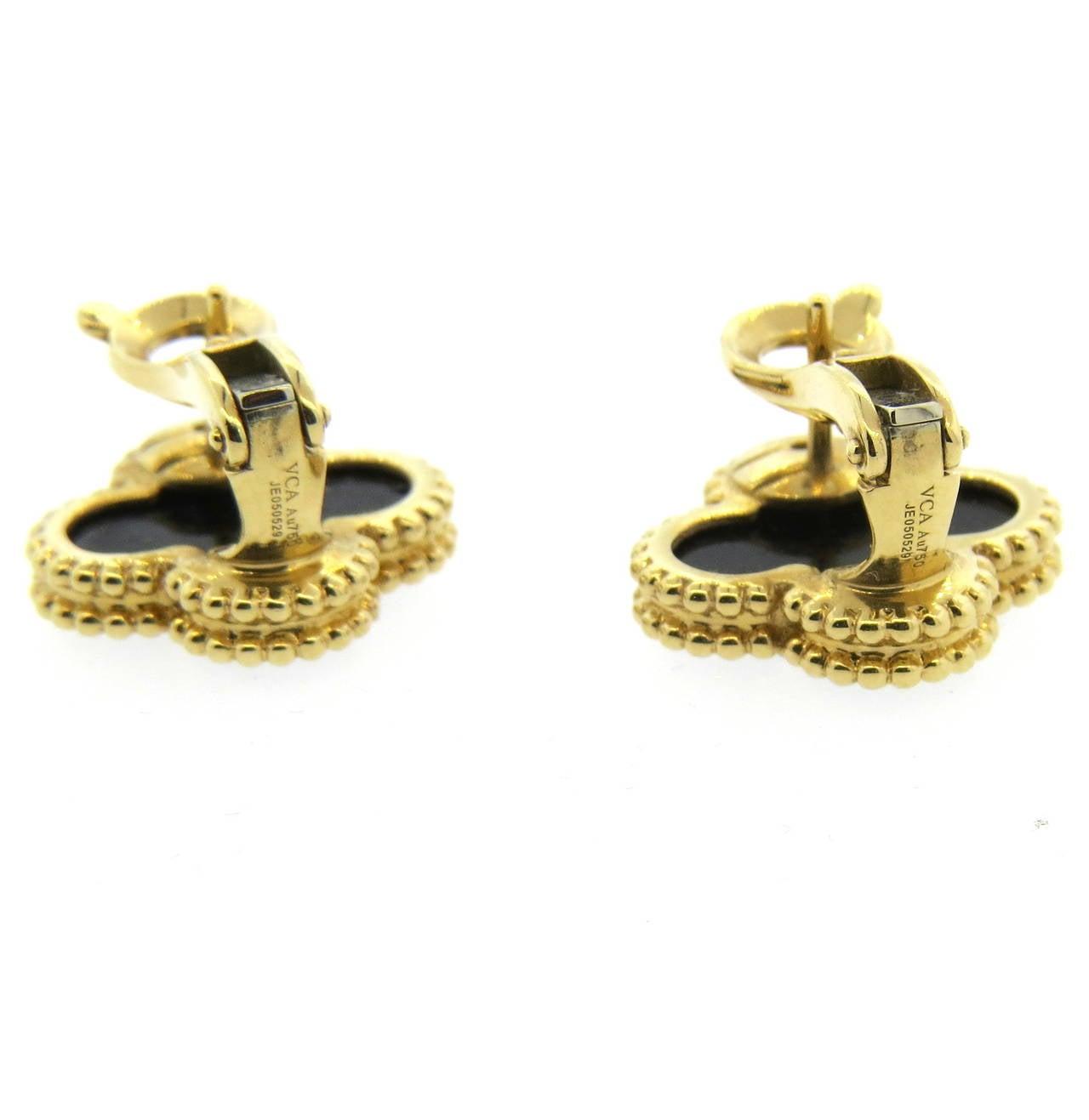 Van Cleef & Arpels VCA Vintage Alhambra Onyx Earrings 3