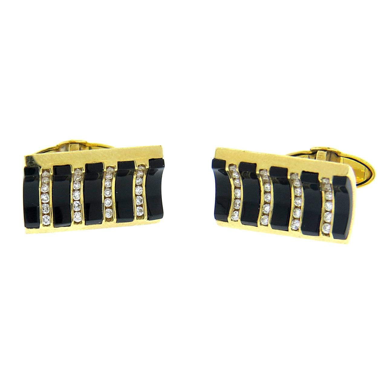 Modern Onyx Diamond Gold Cufflinks