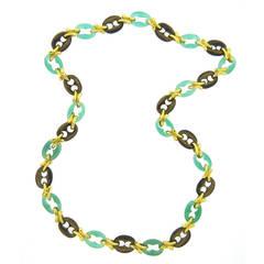 1970s Chrysoprase Tiger's Eye Gold Necklace