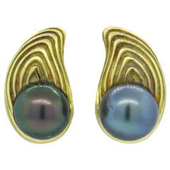 Christopher Walling Tahitian Pearl Gold Earrings