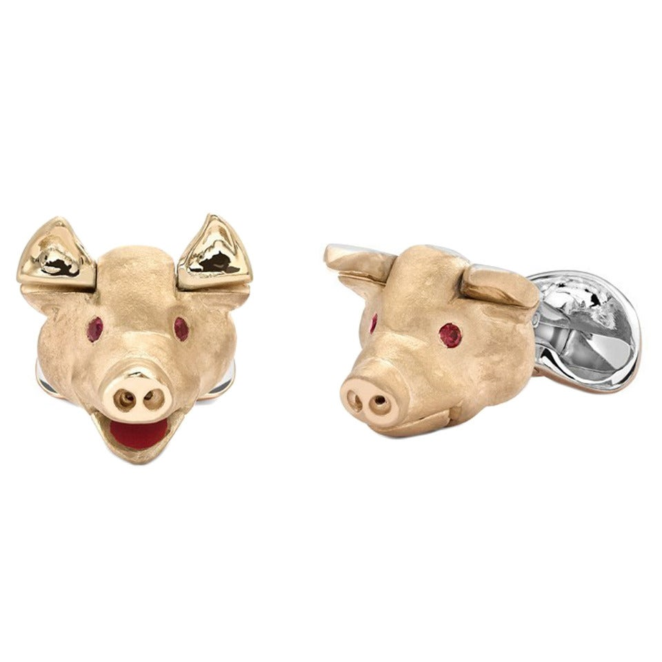 Deakin & Francis Ruby Sterling Silver Pig Head Cufflinks