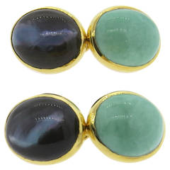 Trianon Mother Of Pearl Turquoise Black Gold Cufflinks