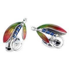 Deakin & Francis Enamel Sterling Silver Fish and Fly Cufflinks
