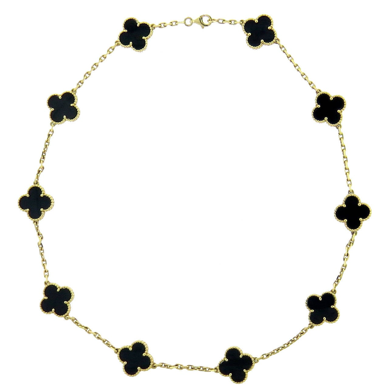 Van Cleef & Arpels Vintage Alhambra Onyx Gold Necklace For Sale