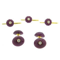 Trianon Ruby Diamond Gold Cufflinks and Studs Set