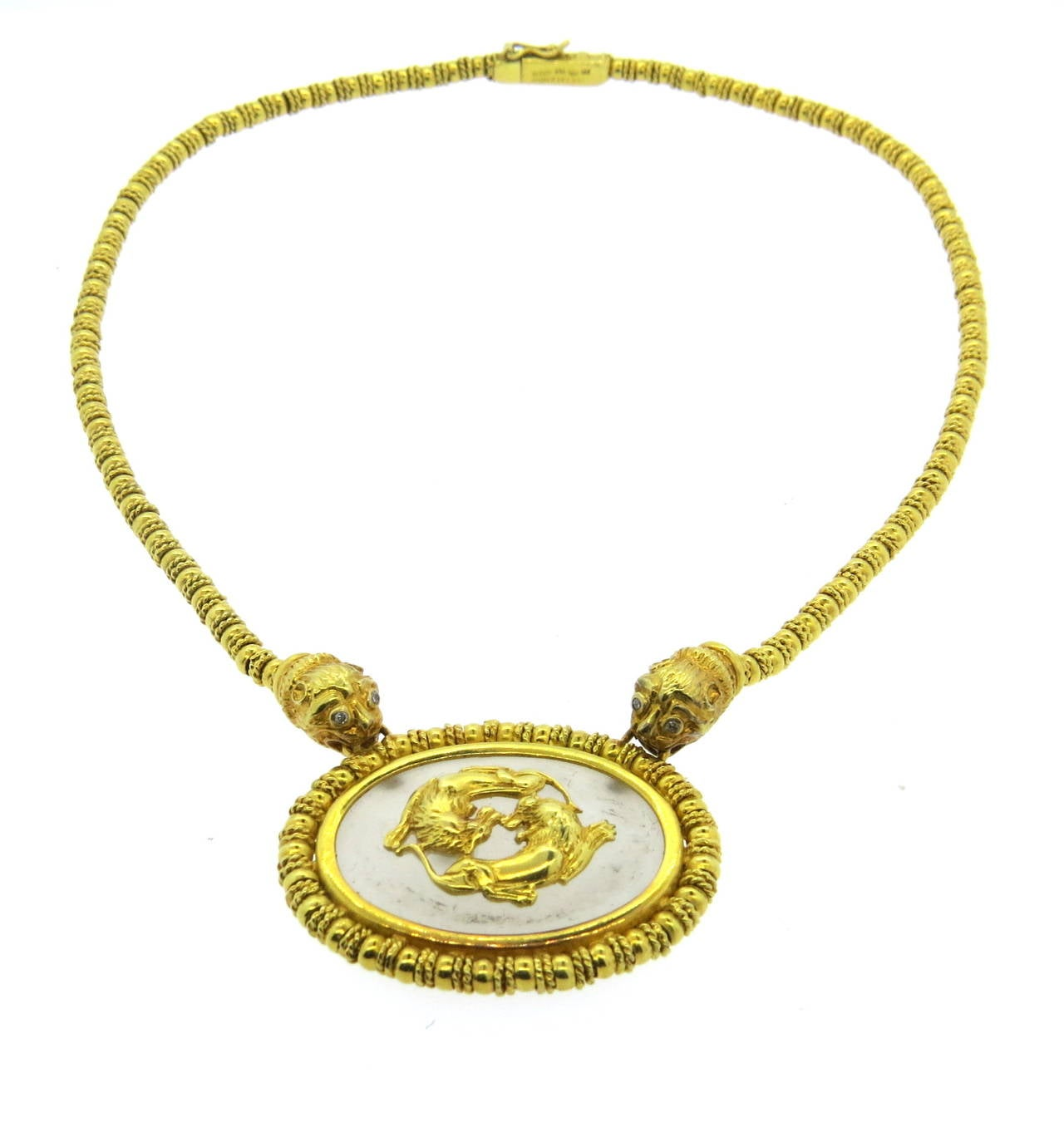 Ilias Lalaounis Crystal Diamond Gold Chimera Necklace In Excellent Condition In Boca Raton, FL