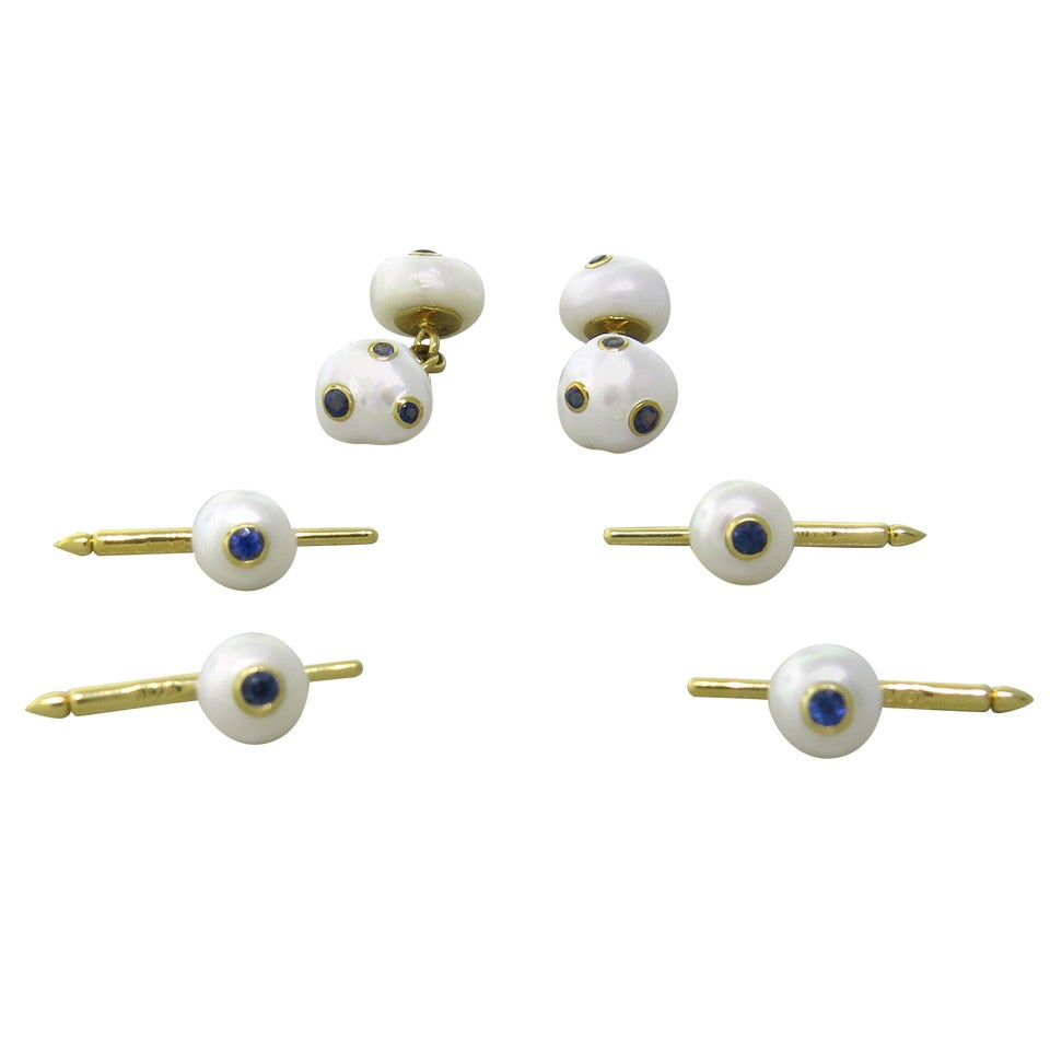 Trianon Sapphire Pearl Gold Cufflink Stud Dress Set