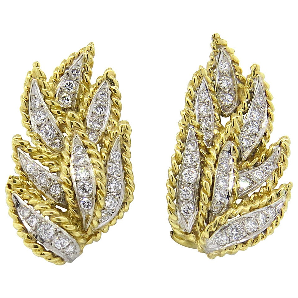 1970s Hammerman Brothers Diamond Gold Leaf Motif Earrings