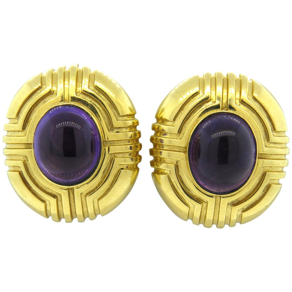 Tiffany & Co. Amethyst Gold Earrings 1