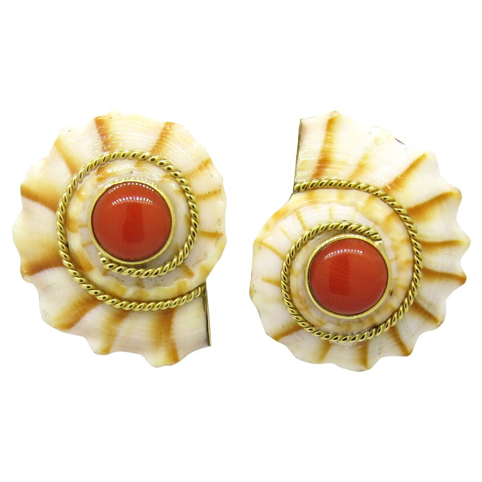 maz shell coral gold earrings at 1stdibs