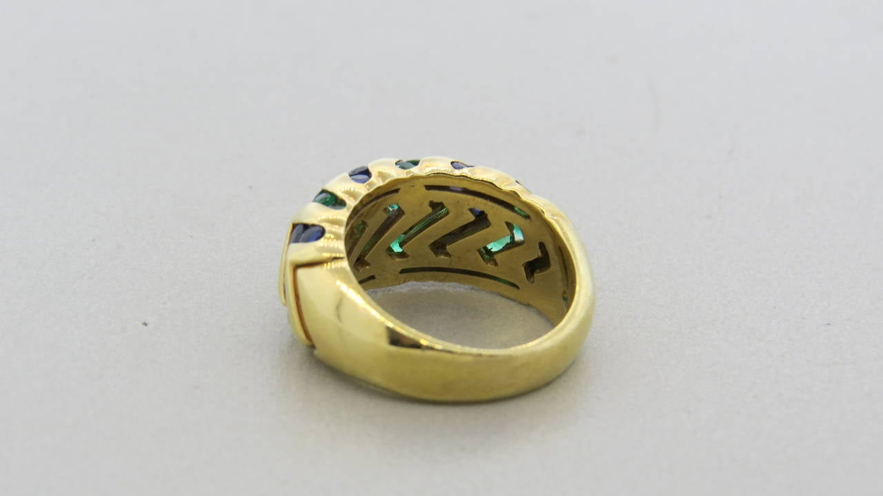 bulgari spiga sapphire emerald gold dome ring at 1stdibs