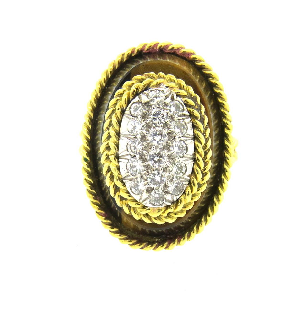 1970s tiger s eye gold ring at 1stdibs