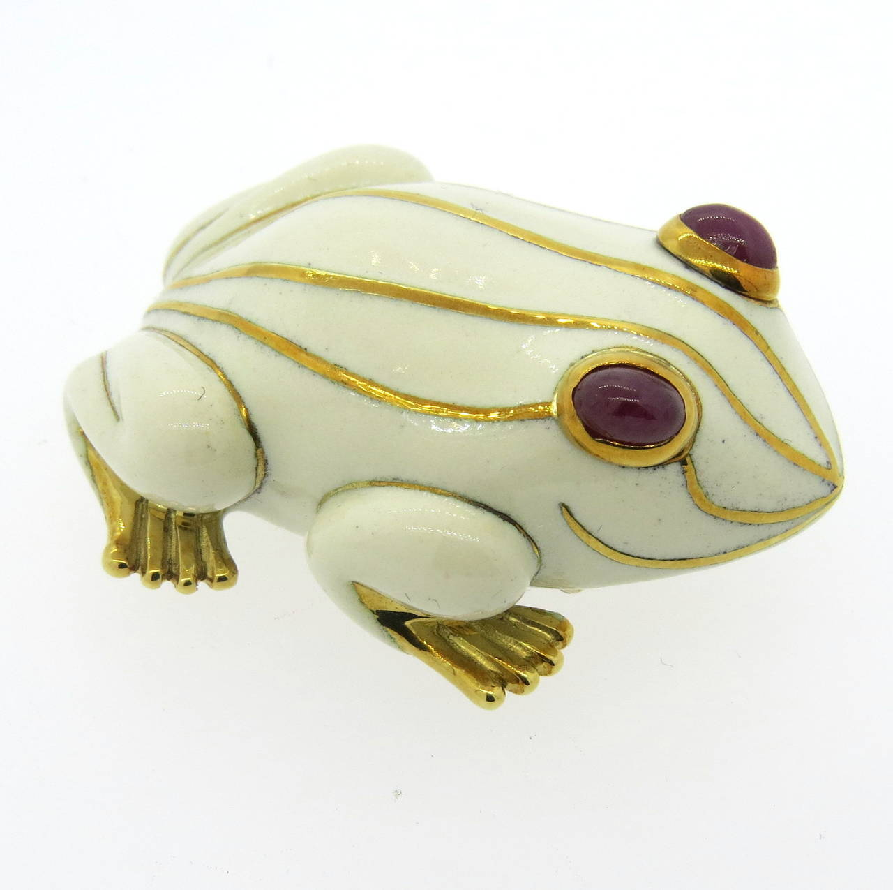 David Webb Enamel Ruby Gold Frog Brooch Pin For Sale 1