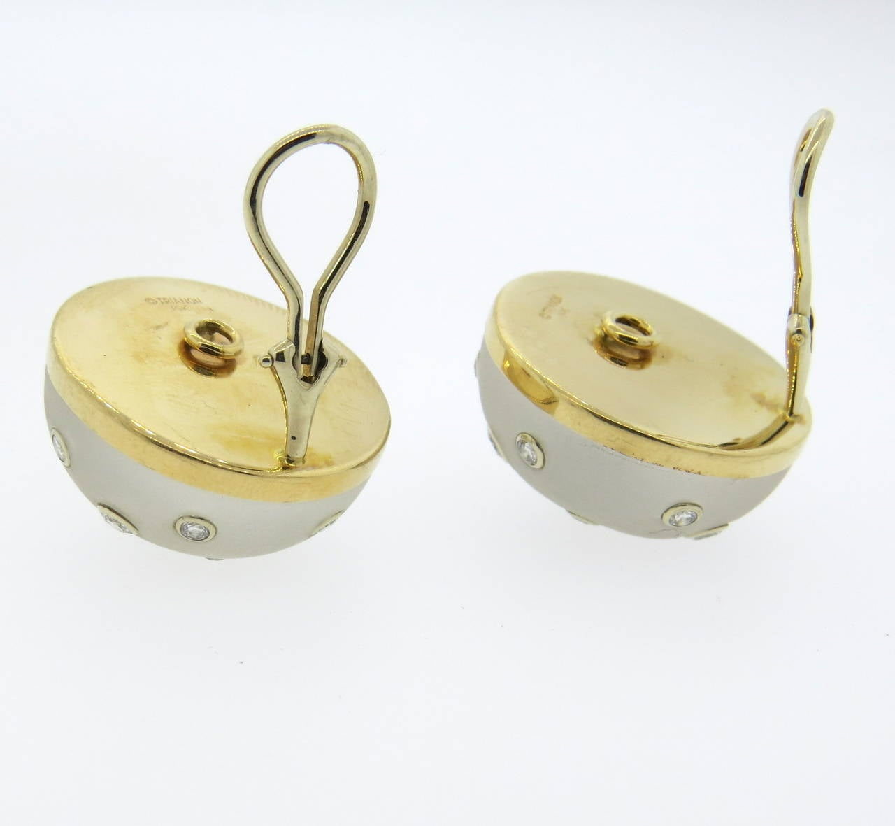 Trianon Frosted Crystal Diamond Gold Earrings In Excellent Condition For Sale In Lahaska, PA