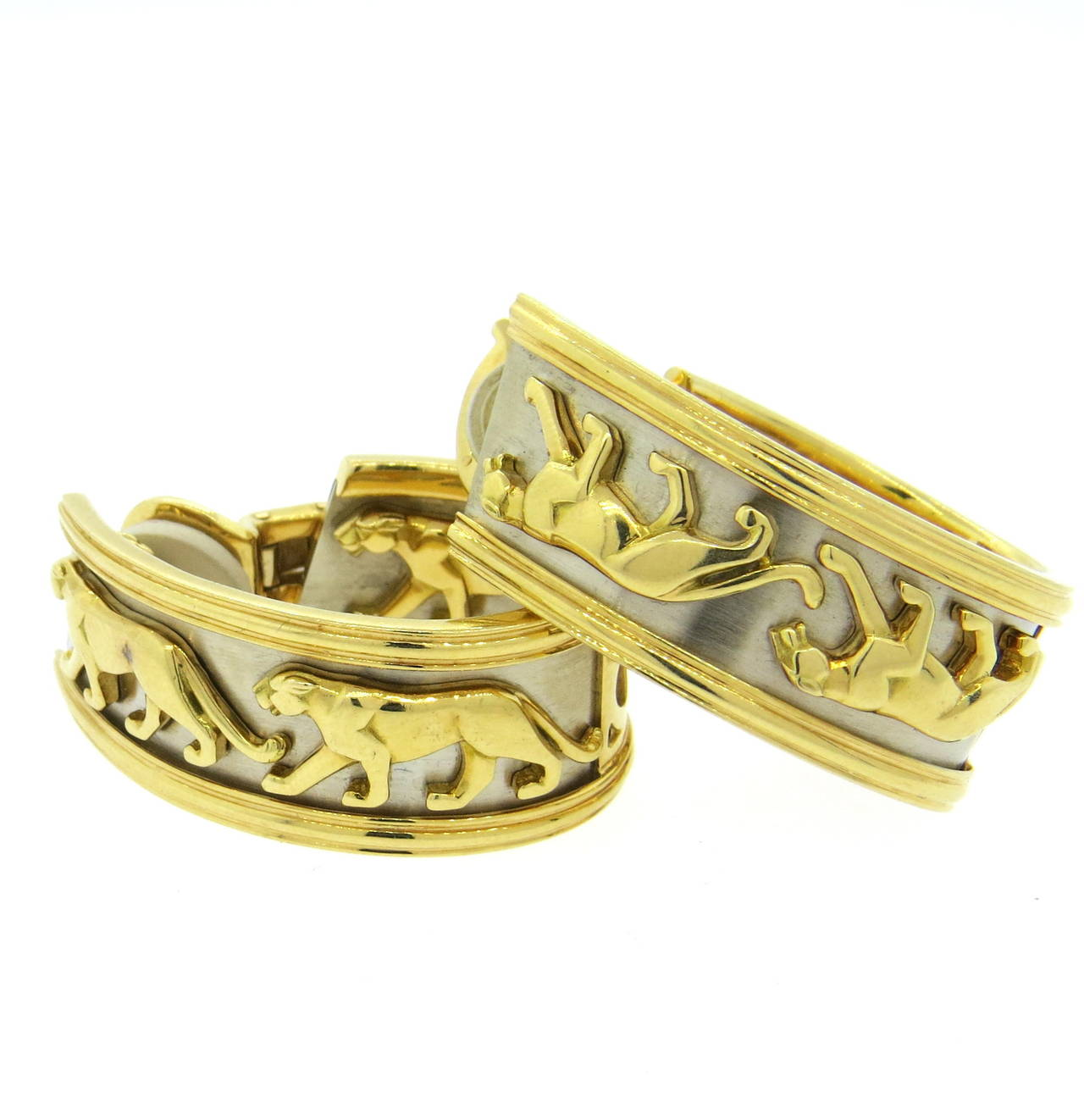 Women S Large Cartier Panthere Gold Hoop Earrings For