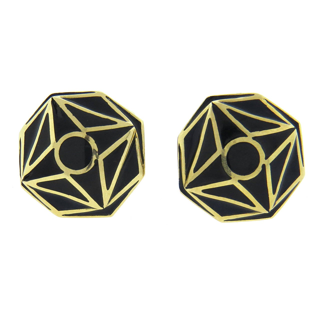 David Webb Black Enamel Gold Cufflinks