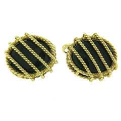 Green Enamel Gold Oval Cufflinks