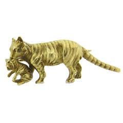 Antique Gold Cat and Kitten Brooch