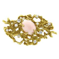 Arthur King Diamond Coral Gold Brooch Pin
