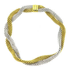 Fope Italy Woven Two Color Gold Necklace