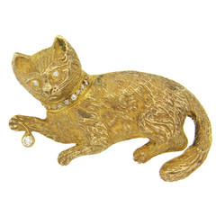 Diamond Gold Cat Brooch
