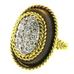 1970s Tiger's Eye Diamond Gold Ring