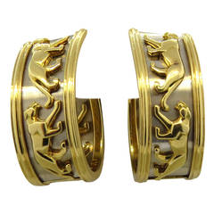 Large Cartier Panthere Gold Hoop Earrings