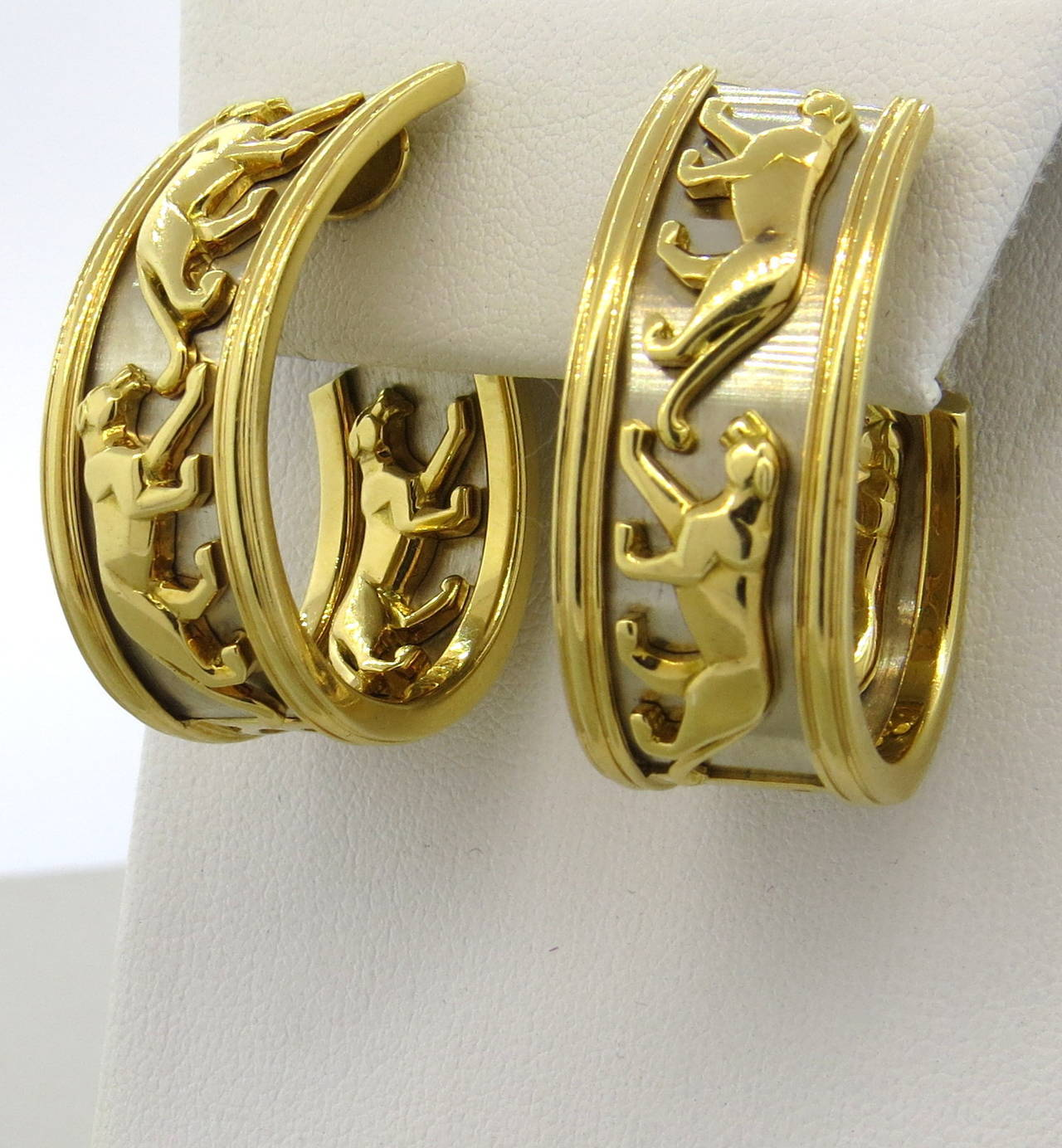 Large Cartier Panthere Gold Hoop Earrings 2