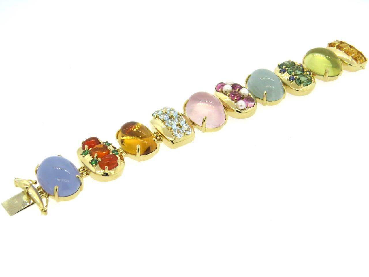 Beautiful Gem Set Gold Bracelet at 1stdibs