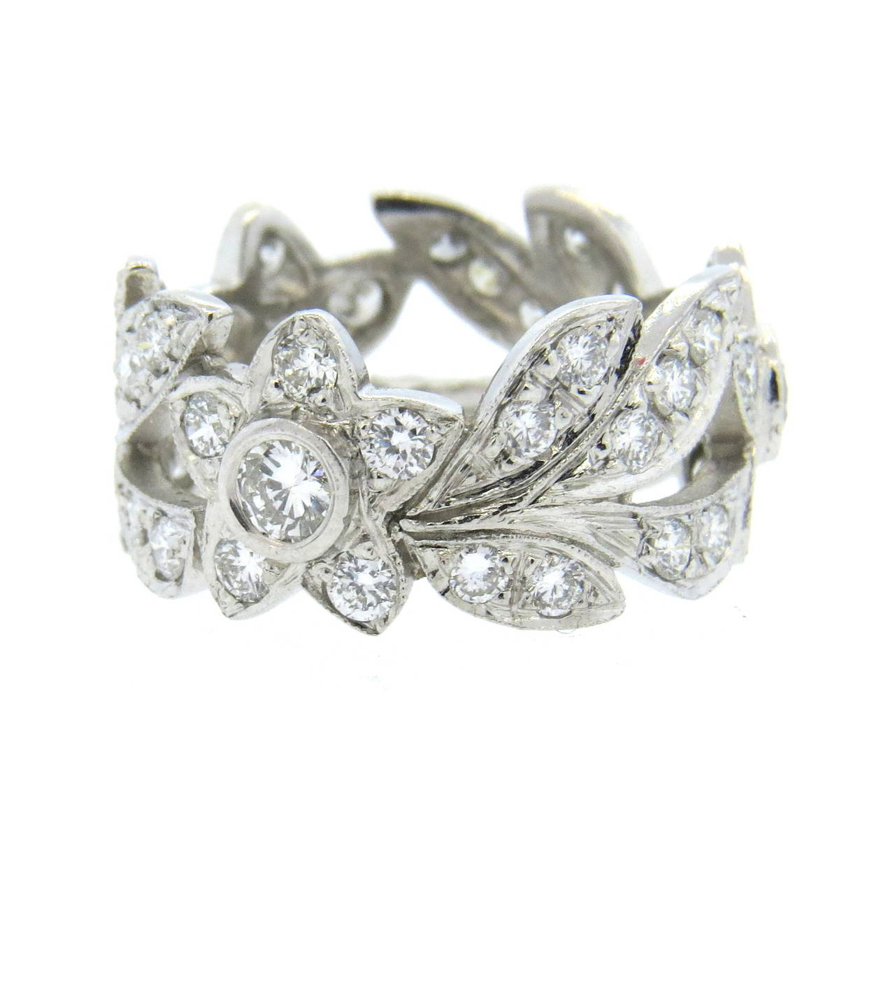 Diamond Platinum Flower and Leaf Motif Band Ring at 1stdibs